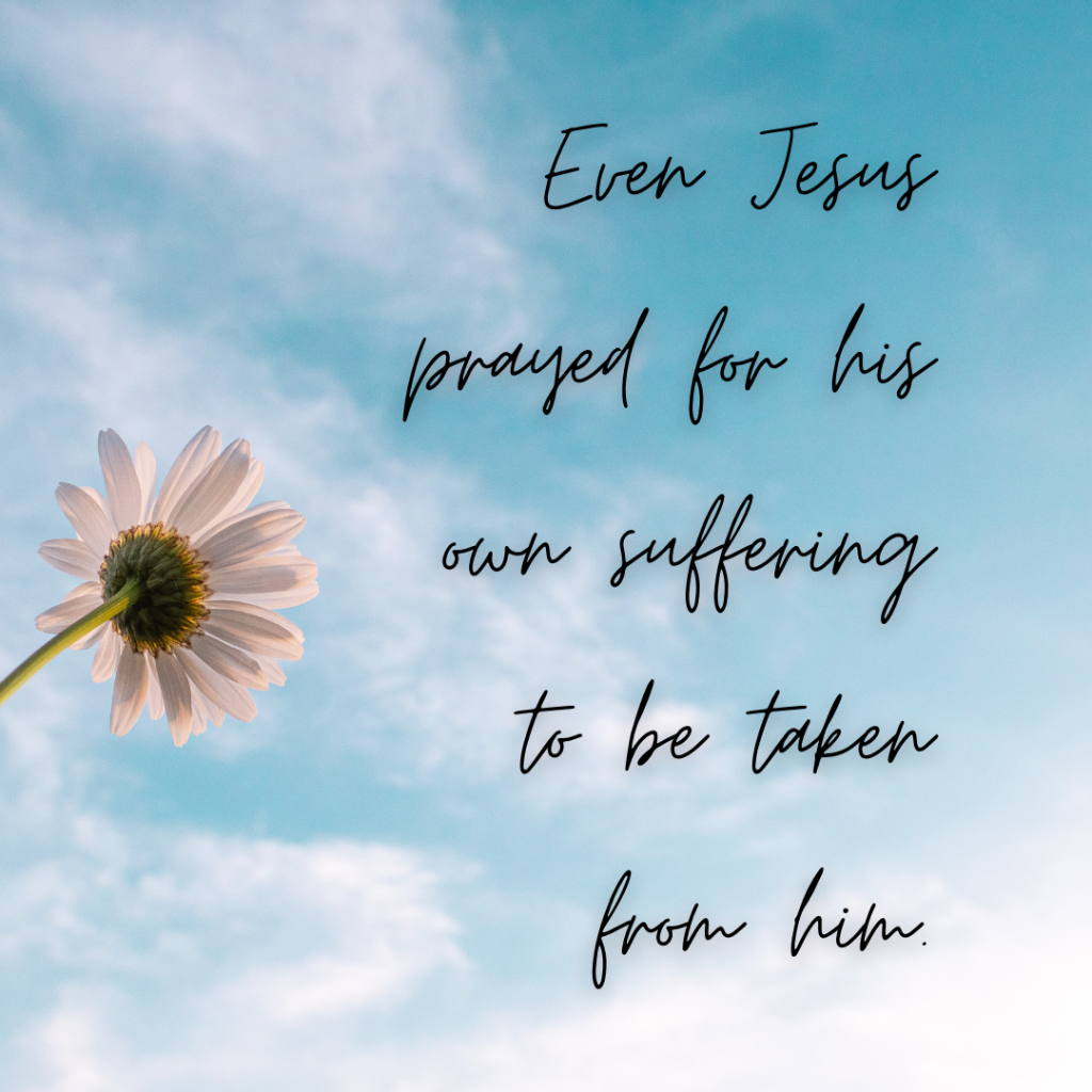 Even Jesus prayed for his own suffering to be taken from him.